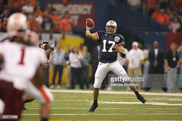 Quarterback Jason Campbell of the Auburn Tigers passes against the Virginia Tech Hokies during the Nokia Sugar Bowl on January 3 2005 at the...