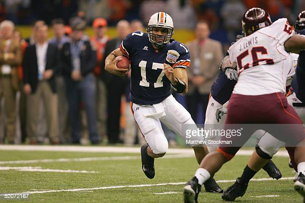 Quarterback Jason Campbell of the Auburn Tigers runs against the Virginia Tech Hokies during the Nokia Sugar Bowl on January 3 2005 at the Superdome...
