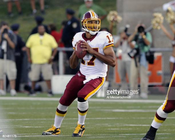 Quarterback Jason Campbell of the Washington Redskins sets to pass against the Indianapolis Colts in the Pro Football Hall of Fame Game at Fawcett...