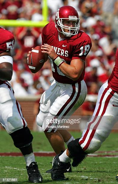 Quarterback Jason White of the University of Oklahoma Sooners drops back to pass against the University of Oregon Ducks on September 18, 2004 at...