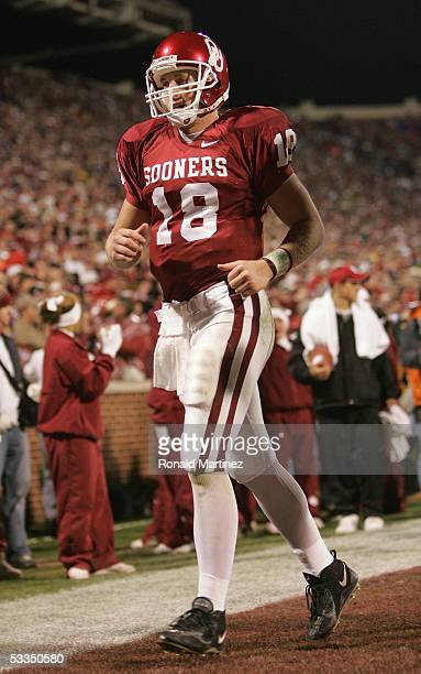 Quarterback Jason White of the University of Oklahoma Sooners leaves the fied during the game against the University of Nebraska Cornhuskers on...