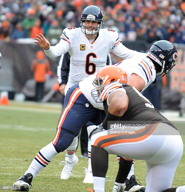 Quarterback Jay Cutler of the Chicago Bears calls a audible at the line of scrimmage during a game against the Cleveland Browns at FirstEnergy...