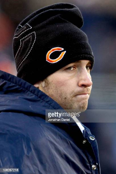Quarterback Jay Cutler of the Chicago Bears on the sideline in the third quarter after leaving the game with an injury against the Green Bay Packers...