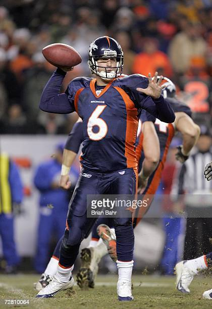 Quarterback Jay Cutler of the Denver Broncos passes the ball during the game against the Seattle Seahawks on December 3 2006 at Invesco Field at Mile...
