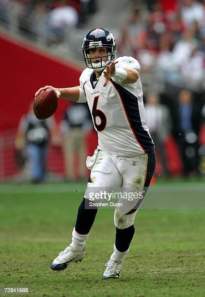 Quarterback Jay Cutler of the Denver Broncos throws a pass on the run against the Arizona Cardinals on December 17 2006 at University of Phoenix...