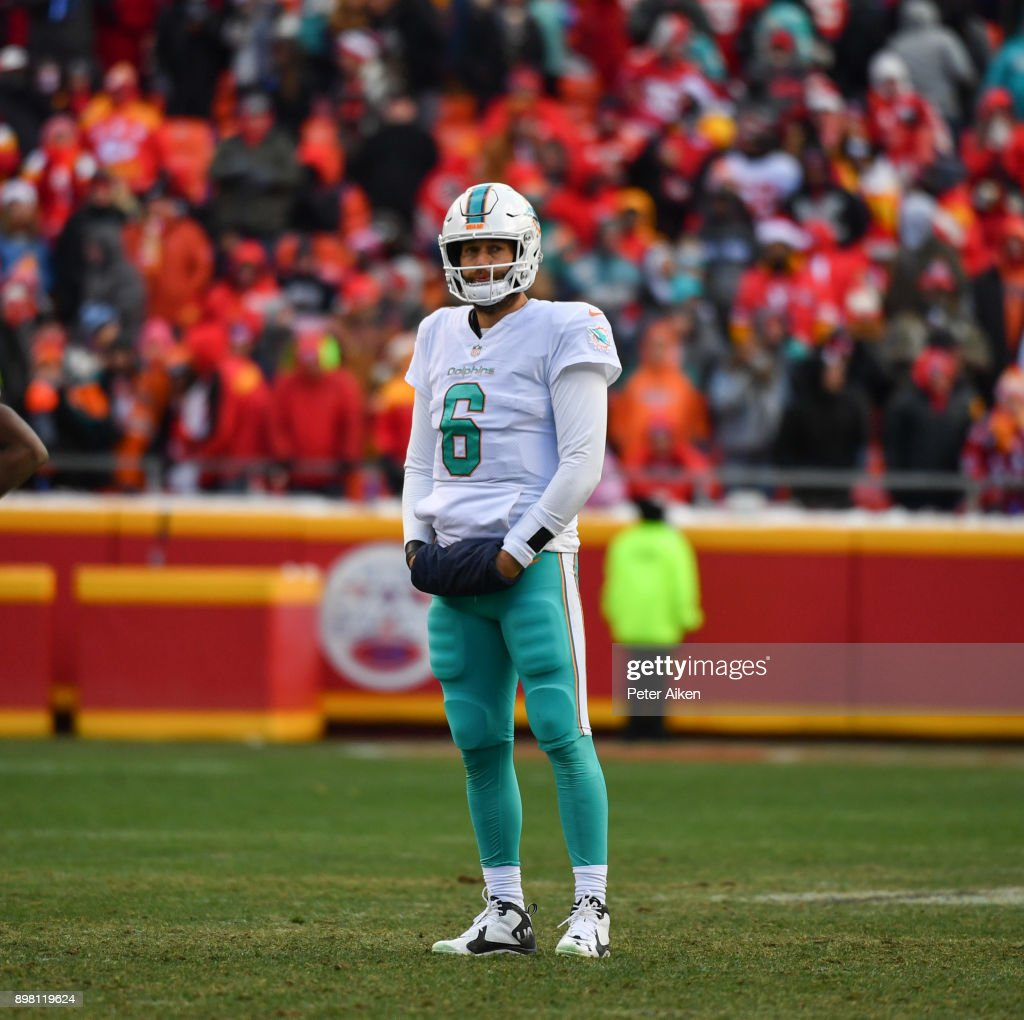 Quarterback Jay Cutler #6 of the Miami Dolphins stands in the middle of the field during a timeout in the fourth quarter of the game against the Kansas City Chiefs at Arrowhead Stadium on December 24, 2017 in Kansas City, Missouri.