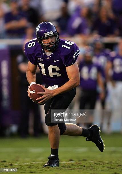 Quarterback Jeff Ballard of the Texas Christian University Horned Frogs drops back to pass against the Brigham Young University Cougars at Amon G...