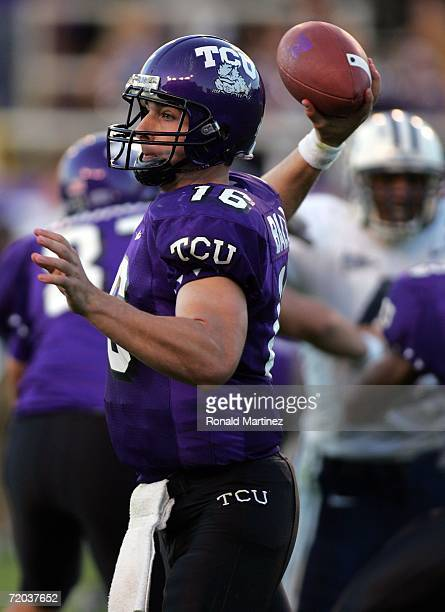 Quarterback Jeff Ballard of the Texas Christian University Horned Frogs passes against the Brigham Young University Cougars at Amon G Carter Stadium...