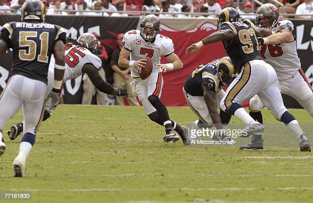 Quarterback Jeff Garcia of the Tampa Bay Buccaneers scrambles upfield against the St Louis Rams at Raymond James Stadium on September 23 2007 in...