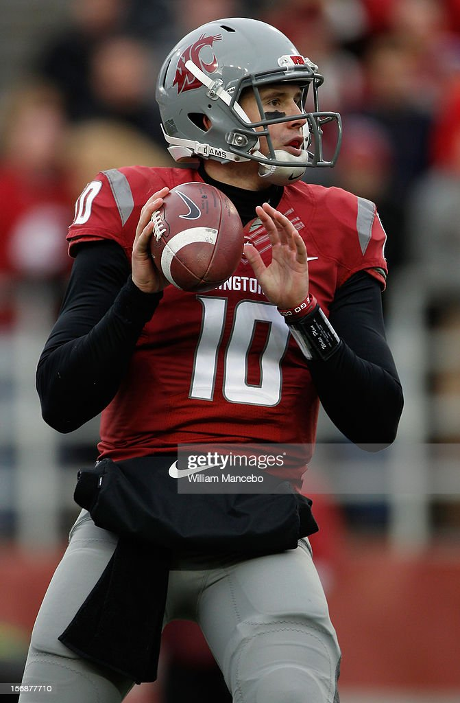 Quarterback Jeff Tuel #10 of the Washington State Cougars looks to pass during the game against the Washington Huskies at Martin Stadium on November 23, 2012 in Pullman, Washington.