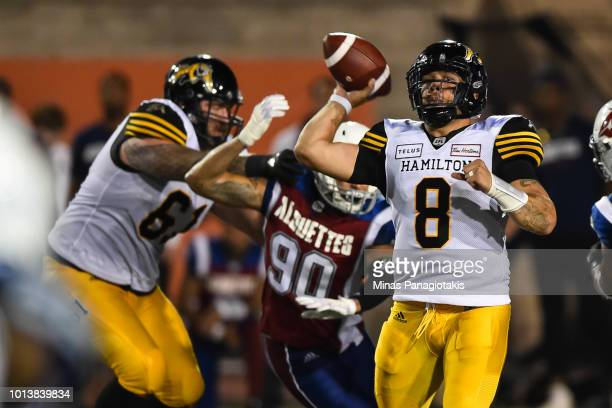 Quarterback Jeremiah Masoli of the Hamilton TigerCats prepares to throw the ball against the Montreal Alouettes during the CFL game at Percival...