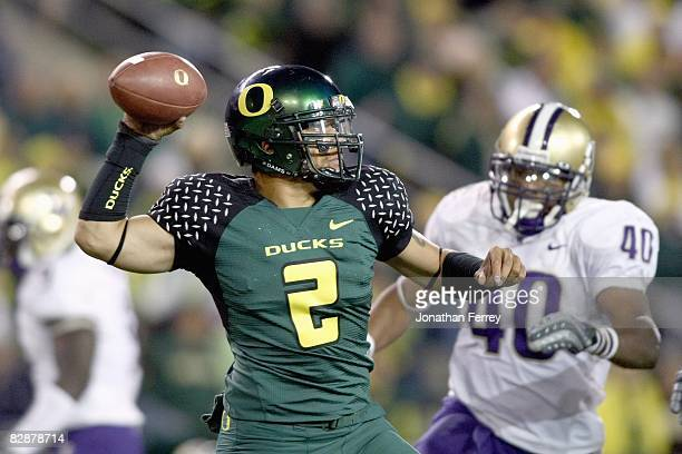 Quarterback Jeremiah Masoli of the Oregon Ducks throws the ball during the game against the Washington Huskies at Autzen Stadium on August 30 2008 in...
