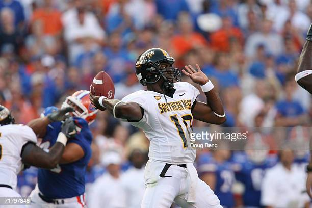 Quarterback Jeremy Young of the Southern Miss Golden Eagles throws a pass during the game against the University of Florida Gators at Ben Hill...