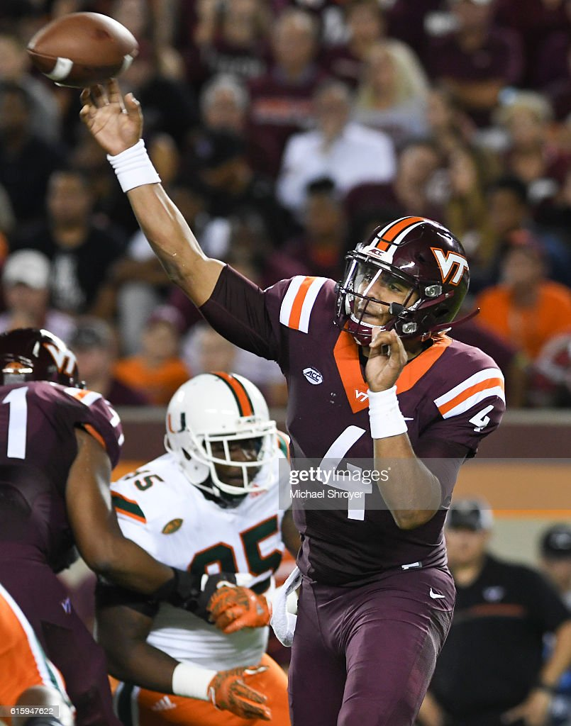 Quarterback Jerod Evans #4 of the Virginia Tech Hokies throws against the Miami Hurricanes in the second half at Lane Stadium on October 20, 2016 in Blacksburg, Virginia. Virginia Tech defeated Miami 37-16.