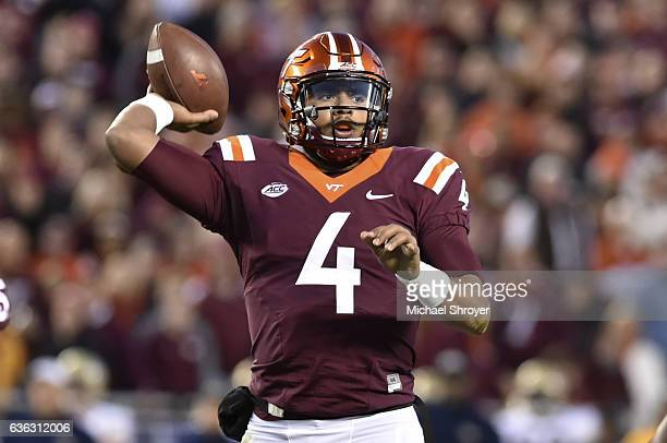 Quarterback Jerod Evans of the Virginia Tech Hokies throws against the Georgia Tech Yellow Jackets in the second half at Lane Stadium on November 12...