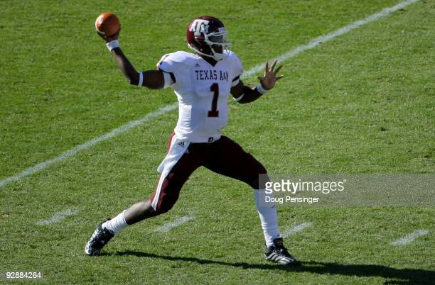Quarterback Jerrod Johnson of the Texas AM Aggies delivers a pass against the Colorado Buffaloes during NCAA college football action at Folsom Field...