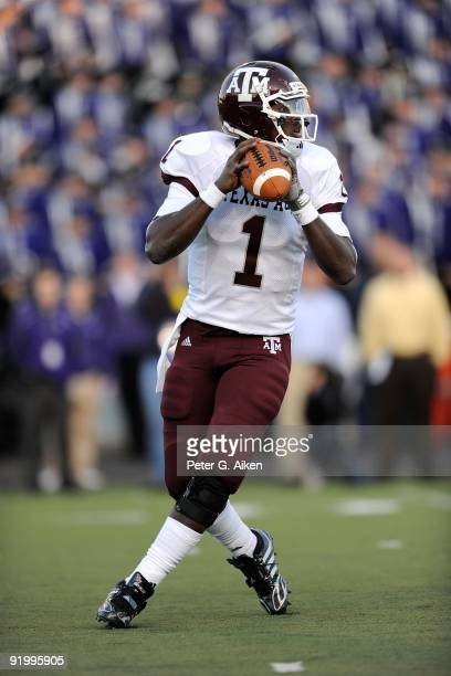 Quarterback Jerrod Johnson of the Texas A&M Aggies drops back to pass during a game against the Kansas State Wildcats on October 17, 2009 at Bill...