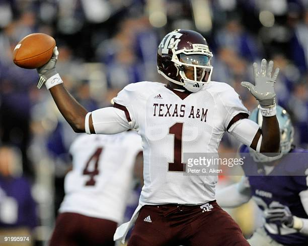 Quarterback Jerrod Johnson of the Texas A&M Aggies gets ready to throw a pass against the Kansas State Wildcats in the first half on October 17, 2009...