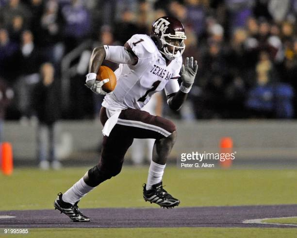 Quarterback Jerrod Johnson of the Texas A&M Aggies rushes to the outside against the Kansas State Wildcats in the second half on October 17, 2009 at...