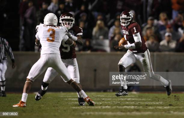 Quarterback Jerrod Johnson of the Texas AM Aggies scrambles for a gain against the Texas Longhorns in the second half at Kyle Field on November 26...