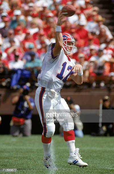 Quarterback Jim Kelly and the Buffalo Bills throws a pass during a game against the San Francisco 49ers during a game at Candlestick Park on...