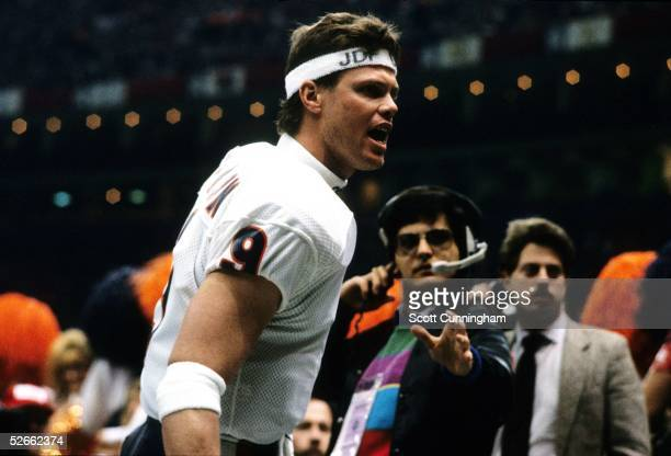 Quarterback Jim McMahon of the Chicago Bears celebrates after winning Super Bowl XX against the New England Patriots at the Louisiana Superdome on...