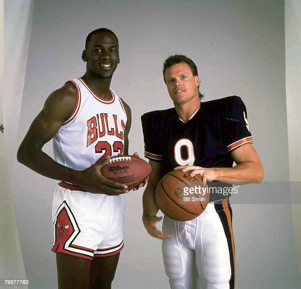 Quarterback Jim McMahon of the NFL Chicago Bears and guard Michael Jordan of the NBA Chicago Bulls Circa 1980's