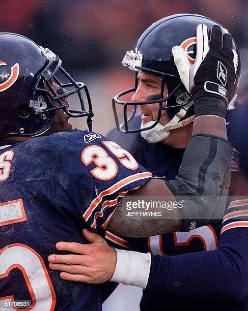 Quarterback Jim Miller of the Chicago Bears celebrates after a touchdown run by Anthony Thomas against the Jacksonville Jaguars 06 January during the...