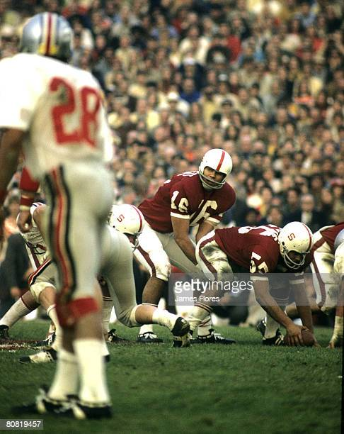 Quarterback Jim Plunkett of the Stanford Indians in a 27 to 17 victory over the Ohio State Buckeyes in the 1971 Rose Bowl on 1/1/1971 at the Rose...