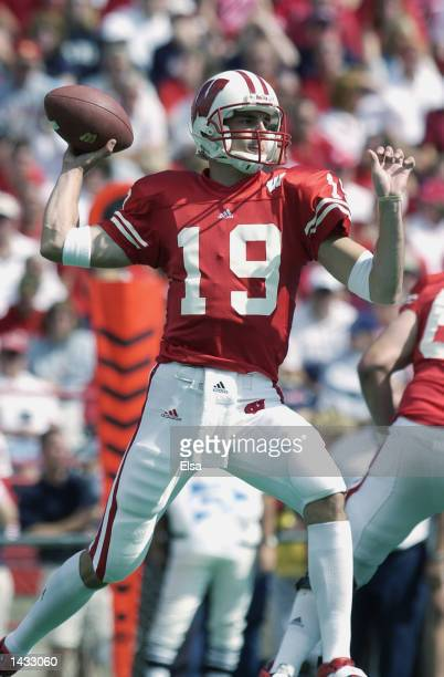 Quarterback Jim Sorgi of Wisconsin passes against Arizona on September 21 2002 at Camp Randall Stadium in Madison Wisconsin Wisconsin defeated...
