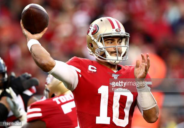 Quarterback Jimmy Garoppolo of the San Francisco 49ers drops back to pass over the defense of the Atlanta Falcons at Levi's Stadium on December 15...