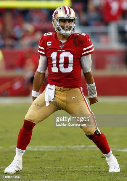 Quarterback Jimmy Garoppolo of the San Francisco 49ers reacts during the final moments of the NFL game against the Arizona Cardinals at Levi's...