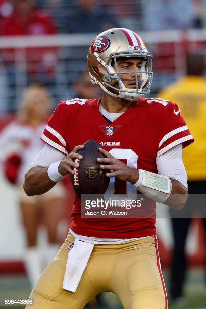 Quarterback Jimmy Garoppolo of the San Francisco 49ers stands in the pocket during the fourth quarter against the Tennessee Titans at Levi's Stadium...