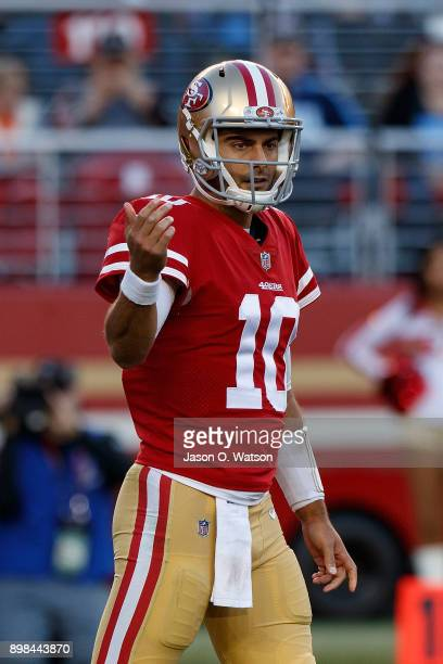 Quarterback Jimmy Garoppolo of the San Francisco 49ers stands on the field during the fourth quarter against the Tennessee Titans at Levi's Stadium...