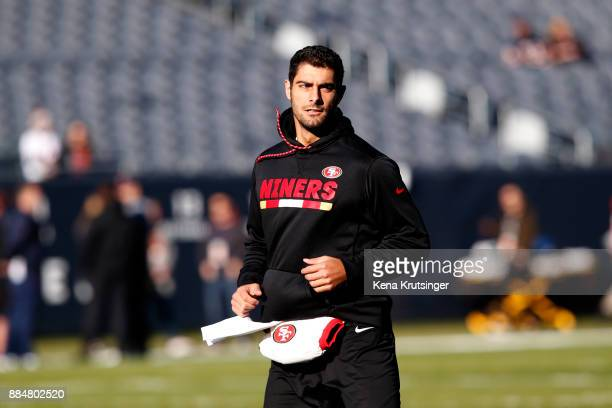 Quarterback Jimmy Garoppolo of the San Francisco 49ers warms up prior to the game against the Chicago Bears at Soldier Field on December 3 2017 in...