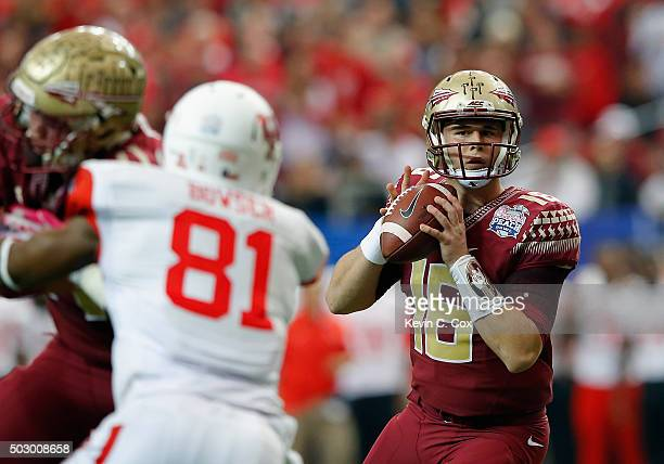 Quarterback JJ Cosentino of the Florida State Seminoles looks to pass against the Houston Cougars in the first quarter during the ChickfilA Peach...