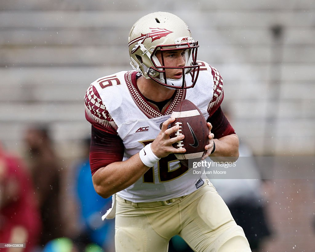 Quarterback J.J. Cosentino #16 of the Florida State Seminoles on a pass play during the spring game at Doak Campbell Stadium on Bobby Bowden Field on April 11, 2015 in Tallahassee, Florida.
