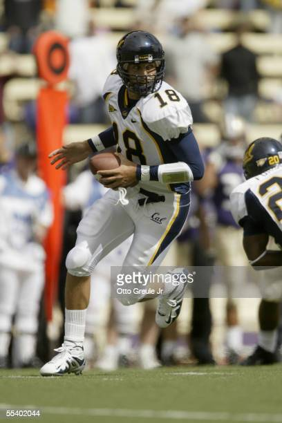 Quarterback Joe Ayoob of the University of California Golden Bears carries the ball against the University of Washington Huskies during the game on...