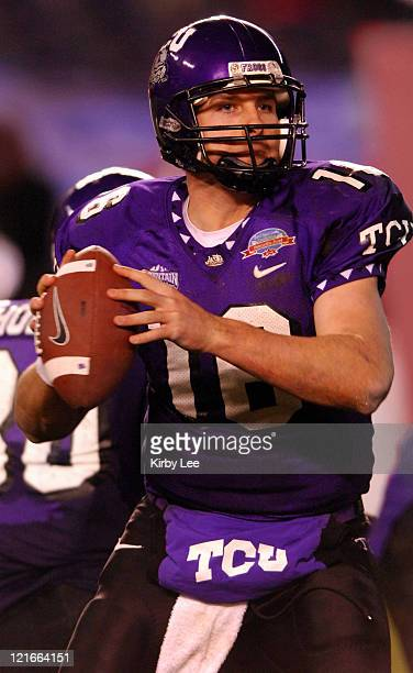 TCU quarterback Joe Ballard drops back to pass during 377 victory over Northern Illinois in the San Diego County Credit Union Poinsettia Bowl at...