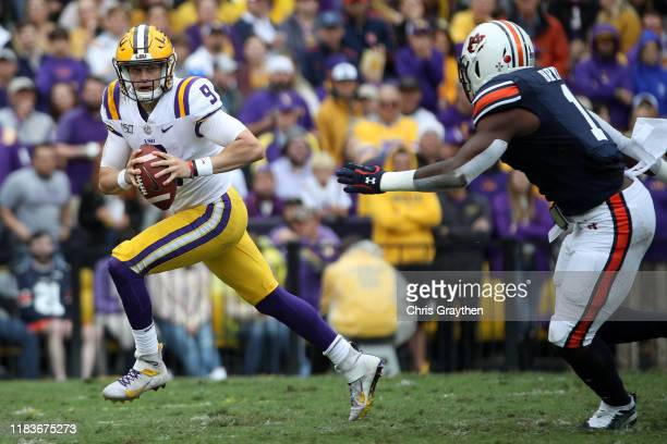 Quarterback Joe Burrow of the LSU Tigers in action against the Auburn Tigers at Tiger Stadium on October 26 2019 in Baton Rouge Louisiana