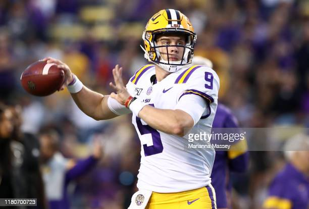 Quarterback Joe Burrow of the LSU Tigers throws the ball against the Florida Gators at Tiger Stadium on October 12 2019 in Baton Rouge Louisiana