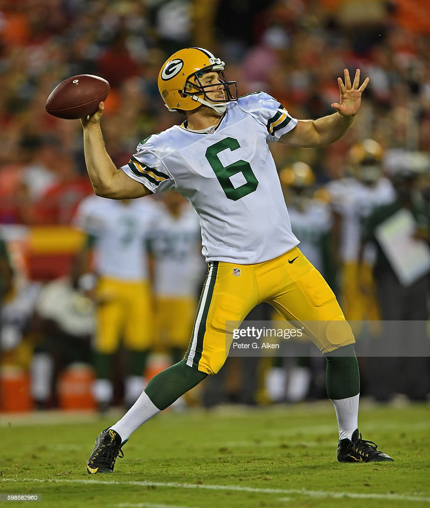 Quarterback Joe Callahan #6 of the Green Bay Packers passes the ball down field against the Kansas City Chiefs during the first half on September 1, 2016 at Arrowhead Stadium in Kansas City, Missouri.