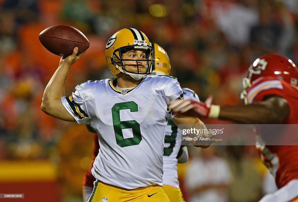 Quarterback Joe Callahan #6 of the Green Bay Packers throws a pass aganst the Kansas City Chiefs during the second half on September 1, 2016 at Arrowhead Stadium in Kansas City, Missouri. Kansas City defeated Green Bay 17-7.
