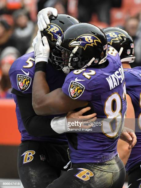 Quarterback Joe Flacco and tight end Benjamin Watson of the Baltimore Ravens celebrate after connecting on a touchdown pass in the second quarter of...