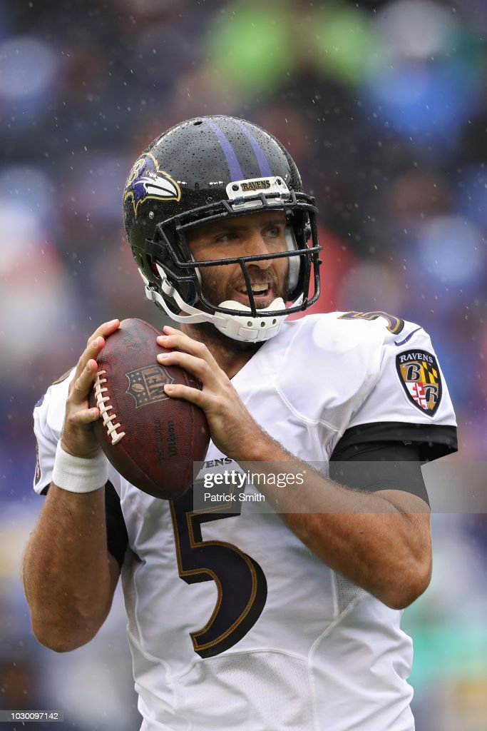 Quarterback Joe Flacco #5 of the Baltimore Ravens throws a pass against the Buffalo Bills at M&T Bank Stadium on September 9, 2018 in Baltimore, Maryland.