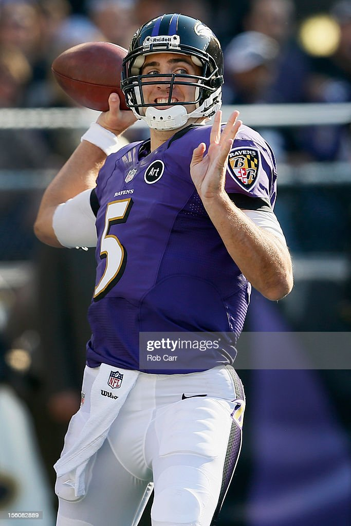 Quarterback Joe Flacco #5 of the Baltimore Ravens throws a second half pass against the Oakland Raiders at M&T Bank Stadium on November 11, 2012 in Baltimore, Maryland.