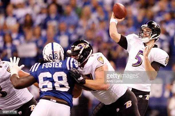 Quarterback Joe Flacco of the Baltimore Ravens throws the ball in the first quarter against the Indianapolis Colts in the AFC Divisional Playoff Game...