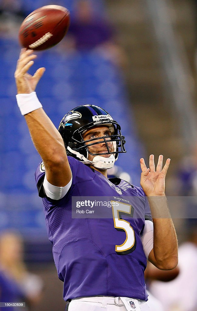 Quarterback Joe Flacco #5 of the Baltimore Ravens warms up prior to the start of the Ravens game against the Detroit Lions at M&T Bank Stadium on August 17, 2012 in Baltimore, Maryland.