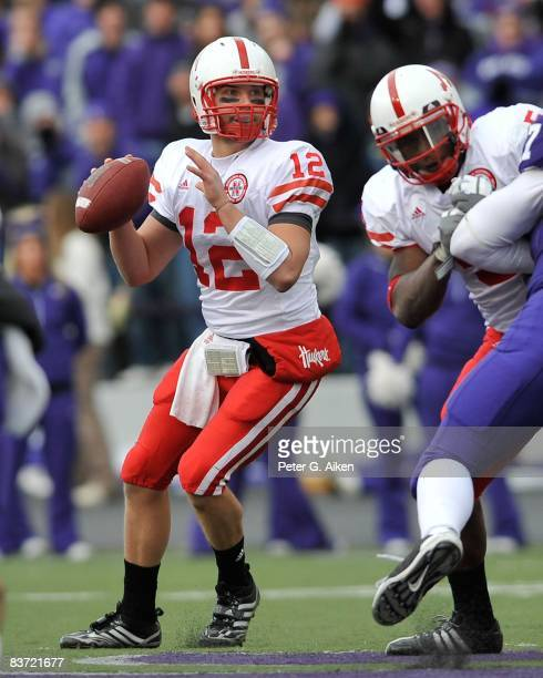 Quarterback Joe Ganz of the Nebraska Cornhuskers drops back to pass against the Kansas State Wildcats during the third quarter on November 15 2008 at...