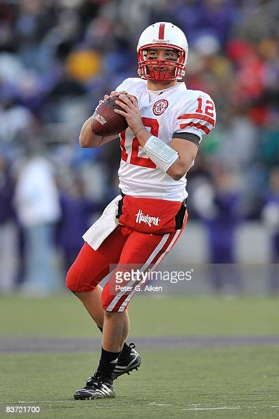 Quarterback Joe Ganz of the Nebraska Cornhuskers looks down field as he drops back to pass against the Kansas State Wildcats during the third quarter...